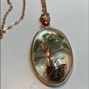 Korean Jade, copper and acrylic necklace.